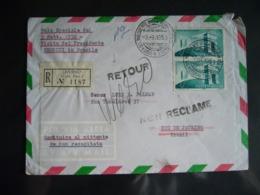 1958 VIAGGIO PRESIDENTE DELLA REPUBBLICA IN BRASILE   VOLO SPECIALE BUSTA AFFRANCATA RACCOMANDATA TIMBRO ALITALIA - 6. 1946-.. República