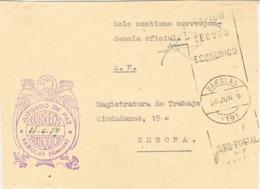 34047. Frontal Carta S.N. Franquicia Juzgado De Paz BAÑOLAS (Gerona) 1959. Fechador Rodillo - 1931-Hoy: 2ª República - ... Juan Carlos I