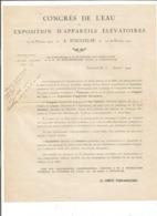 VP.0598/ Congrès De L'eau  & Exposition D'appareils élévatoires - Toulouse Haute-Garonne 1922 - Historical Documents