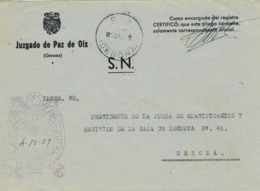 34048. Carta S.N. Franquicia Juzgado Municipal OIX (Gerona) 1959. Fechador Oix - 1931-Hoy: 2ª República - ... Juan Carlos I