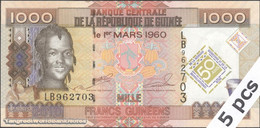 TWN - GUINEA 43a - 1000 1.000 Fr. 2010 DEALERS LOT X 5 - 50th Ann. Of Central Bank And Guinean Currency - Prefix LB UNC - Guinea