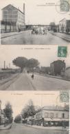 3 CPA:LE BOURGET (93) RESTAURANT MAISON DUPUIS AVENUE DE LA GARE,ATTELAGE ROUTE DE FLANDRE,MOULIN RUE DE FLANDRE.ÉCRITES - Le Bourget