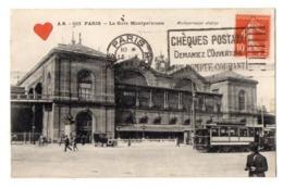 02935-LE-75-PARIS-La Gare Montparnasse-----------------animée-voiture-tramway - Stations, Underground