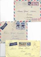 Lot De 3 Lettres Pour Le Canada, Avec Puces, Voir Photo - Marcophilie (Lettres)