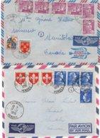 Lot De 2 Lettres De Talmont (Vendée) Pour Le Canada, Avec Puces, Voir Photo - Marcophilie (Lettres)