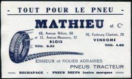 14879 FRANCE  Buvard  Mathieu :  Tout Pour Le Pneu  à Blois Et Vendome    B/TB - Autres Collections