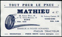14880 FRANCE  Buvard  Mathieu :  Tout Pour Le Pneu  à Blois Et Vendome    B/TB - Other Collections