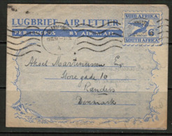 SOUTH AFRICA  1951 AIR LETTER W/enclosed WANT LIST To A STAMP DEALER In DENMARK (19/10/51) (OS-511) - South Africa (...-1961)