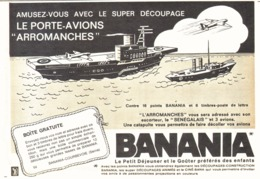 """PUB PORTE-AVIONS ARROMANCHES  Et """" BANANIA """"  1964 ( 7 ) - Chocolat"""