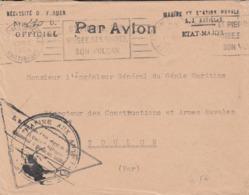 """1954 Cachet """" MARINE ET STATION NAVALE AUX ANTILLES   ETAT- MAJOR""""   Flamme  FORT De FRANCE - Poststempel (Briefe)"""