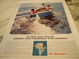 ANCIENNE PUBLICITE REVE REALISE  MOTEUR BATEAU JOHNSON 1966 - Boats
