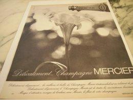 ANCIENNE PUBLICITE DELICATEMENT CHAMPAGNE MERCIER 1966 - Alcohols