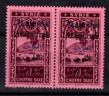 Alaouites Taxe YT Variété N° 7B Double Surcharge (noire Et Bleue) En Paire Neufs ** MNH. TB. A Saisir! - Alaouite (1923-1930)