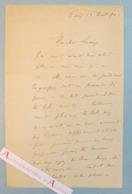 L.A.S 1890 Louis Joseph Raphael COLLIN Peintre & Illustrateur - Lucas - Lettre Autographe - Paris Brionne - Autographes