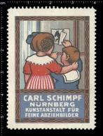 Old Poster Stamp Cinderella Reklamemarke Erinnofili Vignette Carl Schimpf Nürnberg Nuremberg Kid Kind Horse Pferd. - Cinderellas