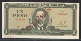 CUBA 1  PESO   1972 SPECIMEN  UNC - Cuba