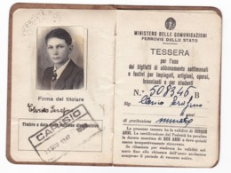 TESSERA - ABBONAMENTO FERROVIE DELLO STATO - ANNO 1947 -  CARISIO - Abonnements Hebdomadaires & Mensuels