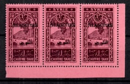 Alaouites Taxe YT N° 7A Variété Surcharge Noire En Bande De Trois Neufs ** MNH. TB. A Saisir! - Alaouite (1923-1930)