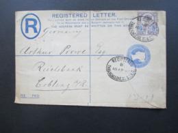 GB 1895 Nr. 93 Mit Perfin / Firmenlochung Als Zusatzfrankatur Auf GA Einschreiben / Registered Threadneedle St. B.O.E.C. - Briefe U. Dokumente