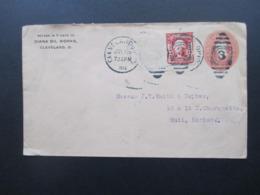 USA 1904 GA Umschlag Mit Zusatzfrankatur Diana Oil Works Cleveland - Hull England Mit Ak Fingerhutstempel Hull - Briefe U. Dokumente