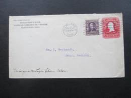 USA 1906 GA Umschlag Mit Zusatzfrankatur Nr. 140 Andrew Jackson Brief Nach Bonn Treasurer's Room Western Reserve Univers - Briefe U. Dokumente