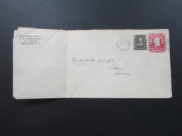 USA 1905 GA Umschlag Mit Zusatzfrankatur Nr. 144 Rechts Ungezähnt Martha Washington Brief Nach Bonn Mit Ak Stempel - Briefe U. Dokumente