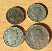 Suisse - 4 Monnaies : 1 Centime 1918 / 5 Centimes 1881 Et 1907 / 20 Centimes 1894 - Suisse