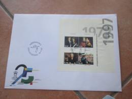 14.1.1997 Dronning Margarete II 25°GIUBILEO Foglietto N.4 Val. Su BUSTA Annullo Speciale - Danimarca