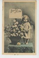 """ENFANTS - LITTLE GIRL - MAEDCHEN - Jolie Carte Fantaisie Fillette Et Fleurs """"Bonne Fête """" - Edit. BERGERET - Portraits"""