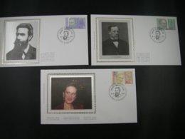 """BELG.1995 2612 2613 & 2614 FDC's Zijde/soie (Lokeren): """"  Rode Kruis - Pr.Astrid - Röntgen - Louis Pasteur-Croix Rouge """" - 1991-00"""