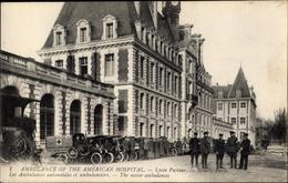 Cp Neuilly Sur Seine Hauts De Seine, Ambulance Of The American Hospital, Fuhrpark, Soldaten - Andere Gemeenten