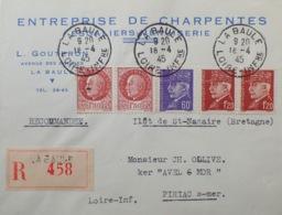 """R1949/1078 - TYPE PETAIN - N°509 + 515 + 516 Sur ✉️ RECOMMANDEE Avec PUBLICITE """" ENTREPRISE DE CHARPENTES De LA BAULE """" - France"""