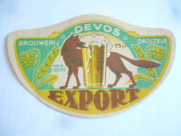 Belgische Bier Etiket De Vos Dadizele - Alcohols