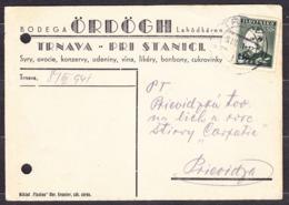 SLOVAKIA 1941, Company Postal Leaflet ( B. ORDOGH, DELICATESSEN SHOP - TRNAVA ), Posted To PRIEVIDZA. - Slovaquie