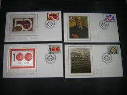 """BELG.1995 2585 2586 2587 & 2588 FDC's Soie/zijde (Gilly) : """" Herdenkingen / Commémorations Diverses """" - 1991-00"""