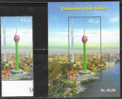 SRI LANKA, 2019, MNH,  TOWERS, COLOMBO LOTUS TOWER, CITY PANORAMIC VIEW, 1v+ S/SHEET - Architecture