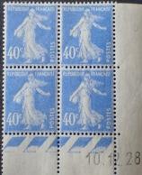 R1189/37 - 1928 - TYPE SEMEUSE - BLOC N°237 TIMBRES NEUFS** CdF Daté LUXE - ....-1929
