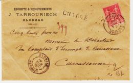 France, De  Olonzac ( Herault ) Chargé  Sage 50c    TB - Marcophilie (Lettres)