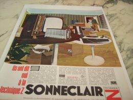ANCIENNE PUBLICITE LA MUSIQUE SONNECLAIR  1966 - Music & Instruments