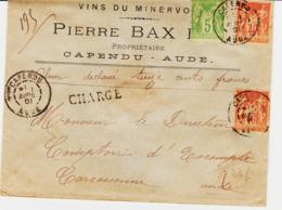 France, De CAPENDU ( Aude ) En 1901, , Chargé  Sage 85c    TB - Marcophilie (Lettres)