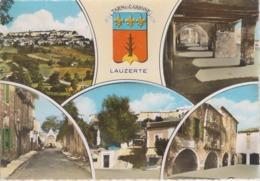 CPSM Lauzerte Avec 5 Vues Et Blason : Vue Générale, Les Couverts, Maison Du XIe S.,Faubourg D'Auriac ... - Lauzerte