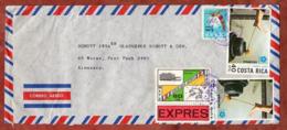 Luftpost, Expres, Olympische Sommerspiele Mexiko U.a., Costa Rica Ueber Frankfurt Nach Mainz 1971 (80090) - Costa Rica
