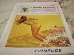 ANCIENNE PUBLICITE UN PLAN D EAU BATEAU MOTEUR EVINRUDE 1966 - Boats