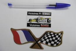 Autocollant Stickers Sport Automobile Victoires F1 RENAULT Et Drapeau à Damiers - Lot De 2 - Autocollants