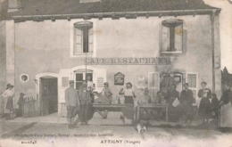 88 Attigny Café Restaurant Cpa Carte Animée Edit Paul Testart Correspondance 1918 - Francia