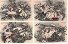 4 Cartes Série-Fantaisies-Couples -LE TEMPS DES CERISES-TBE- - Couples