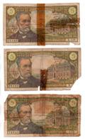 FRANCE . 5 FRANCS . LOUIS PASTEUR . 3 BILLETS - Réf. N°22903 - - 5 F 1966-1970 ''Pasteur''