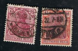 1922 März Germania Mi DR 197 - 98 Sn DE 169  - 74 Yt DR 132 - 33 Sg DR 196 - 97  Sehr Gut Gestempelt Siehe Scan - Deutschland