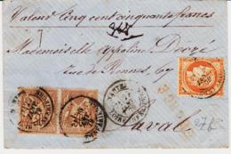 France, De Nantes En 1879, Chargé Avec Sage Et Céres Mixte ! 1 F Au Total Pour Laval   TB - Marcophilie (Lettres)