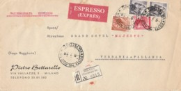 ESPRESSO RACCOMANDATA 1966 2X10+40+80 TIMBRO PALLANZA NOVARA (IX1404 - 1946-.. République